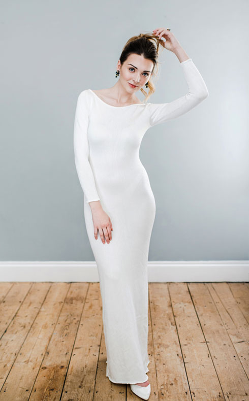 CoopCouture boat neck wedding dress