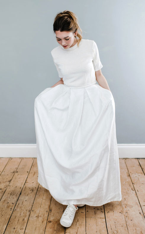 CoopCouture wedding top and skirt with trainers